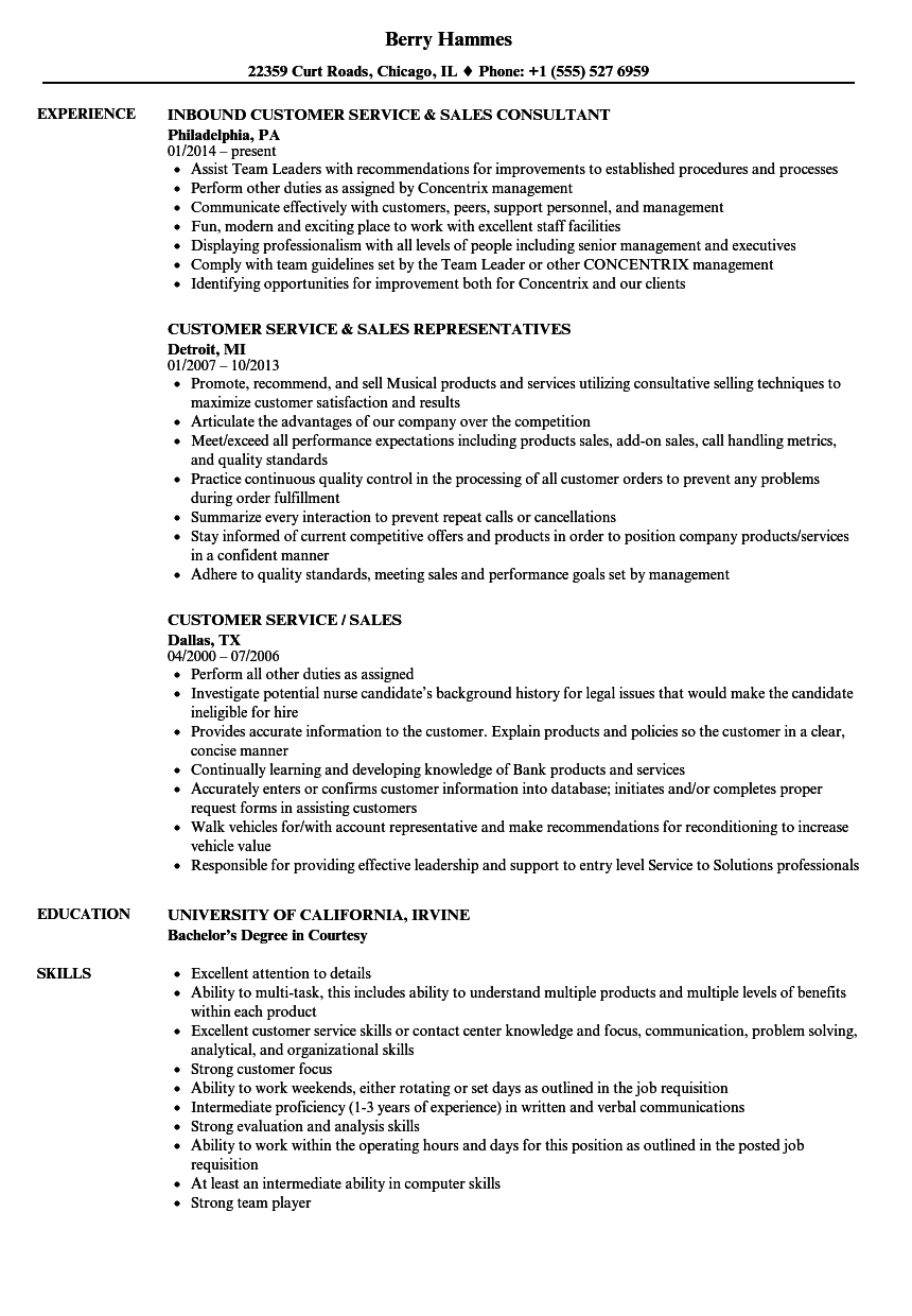 inbound customer service resume