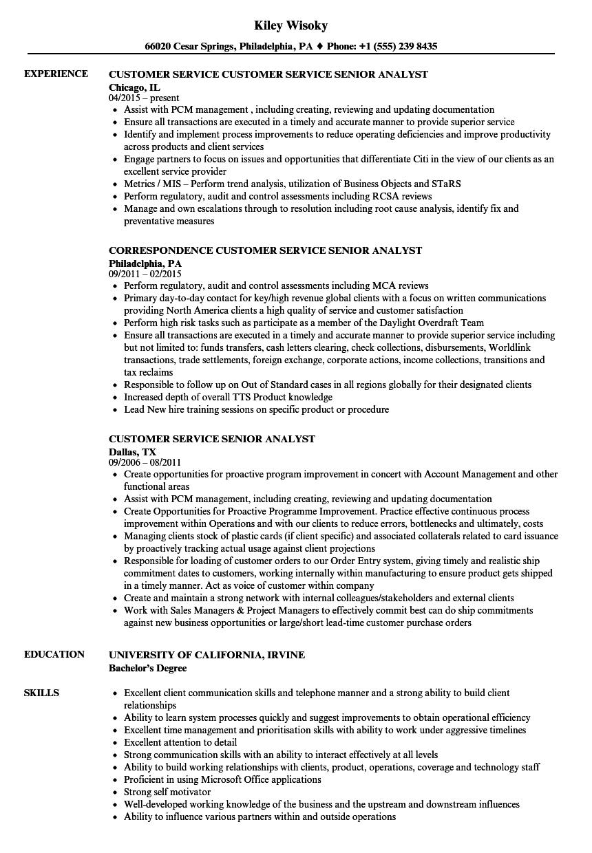 Customer Service Senior Analyst Resume Samples Velvet Jobs