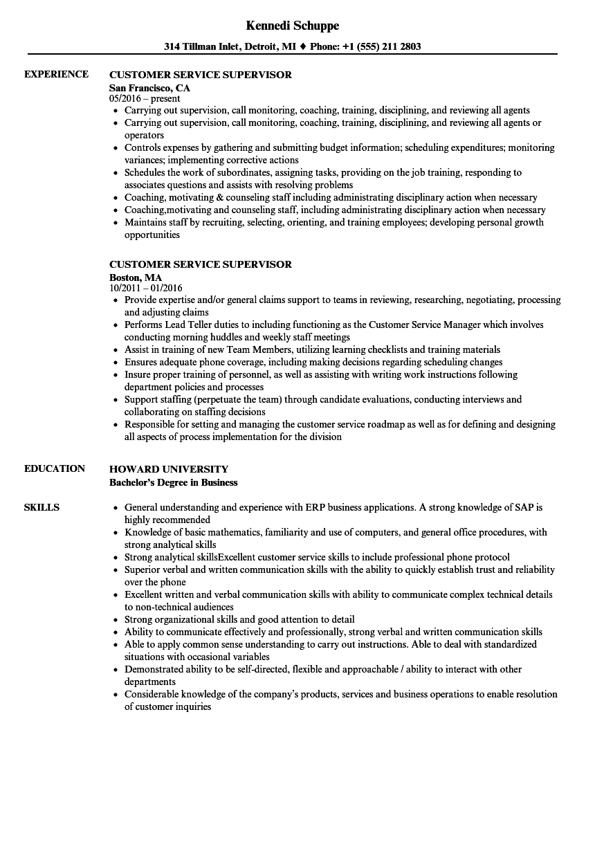 Customer Service Supervisor Resume Samples | Velvet Jobs
