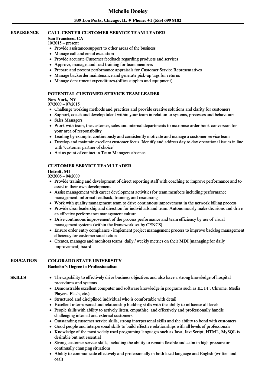 customer service team leader resume samples