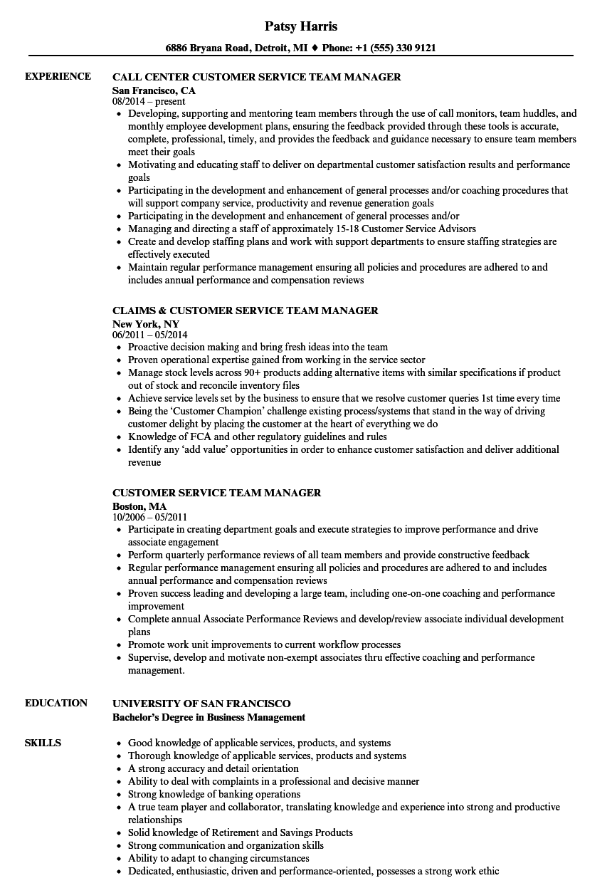 Download Customer Service Team Manager Resume Sample As Image File
