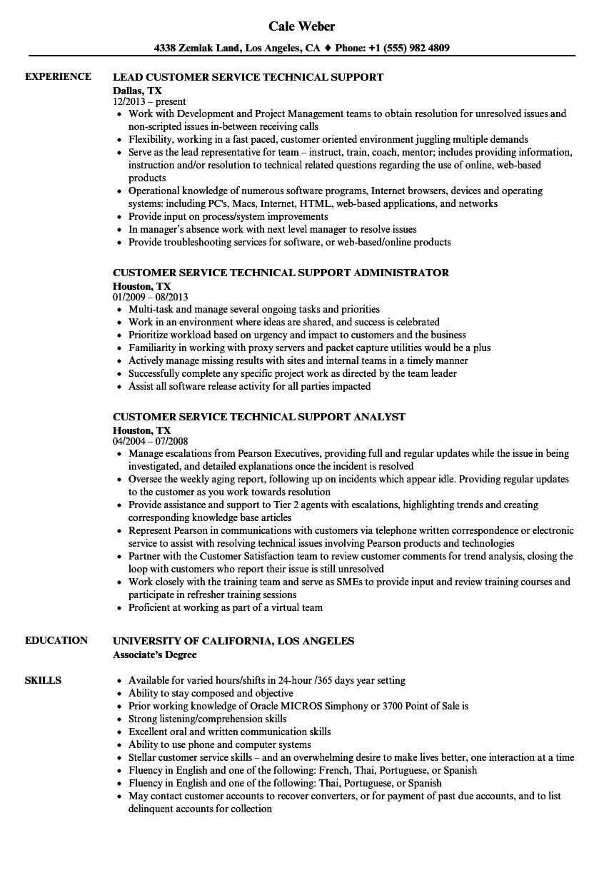 customer-service-technical-support-resume-sample Computer Information Systems Supervisor Resume Sample on manufacturing production, ups operation, construction field, inventory control, for experienced, security guard,