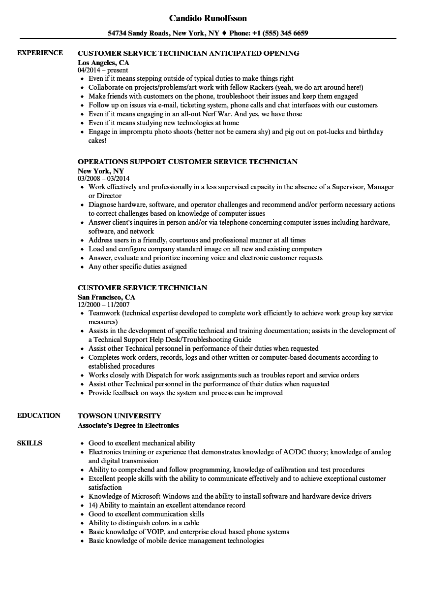 customer service technician resume samples