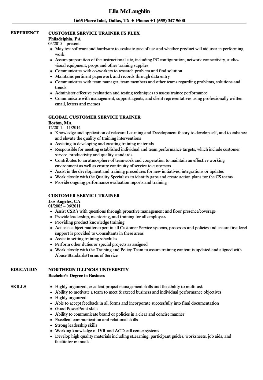 customer service trainer resume