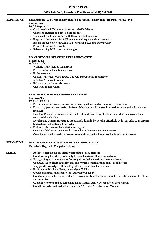 Customer Services Representative Resume Samples | Velvet Jobs