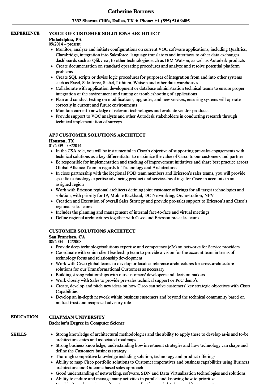 Customer Solutions Architect Resume Samples | Velvet Jobs