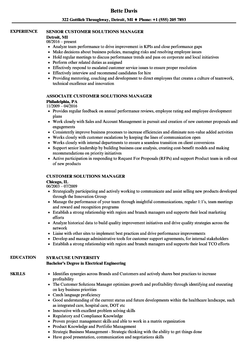 customer solutions manager resume samples