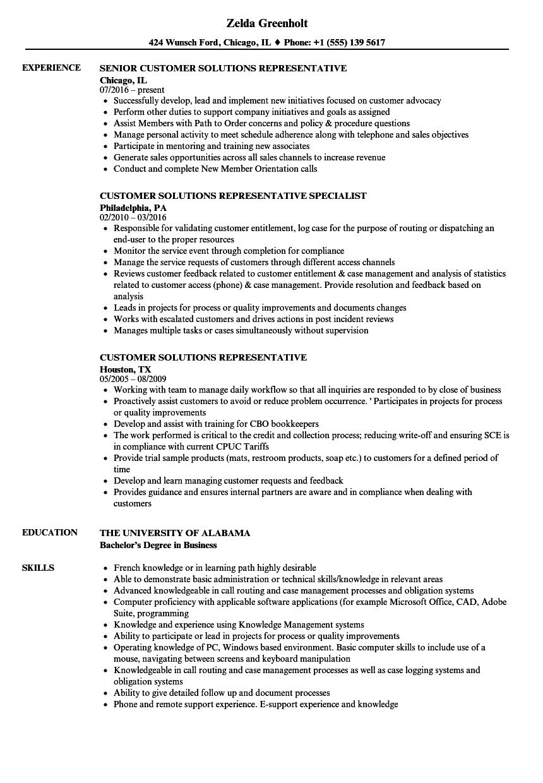Customer Solutions Representative Resume Samples   Velvet Jobs