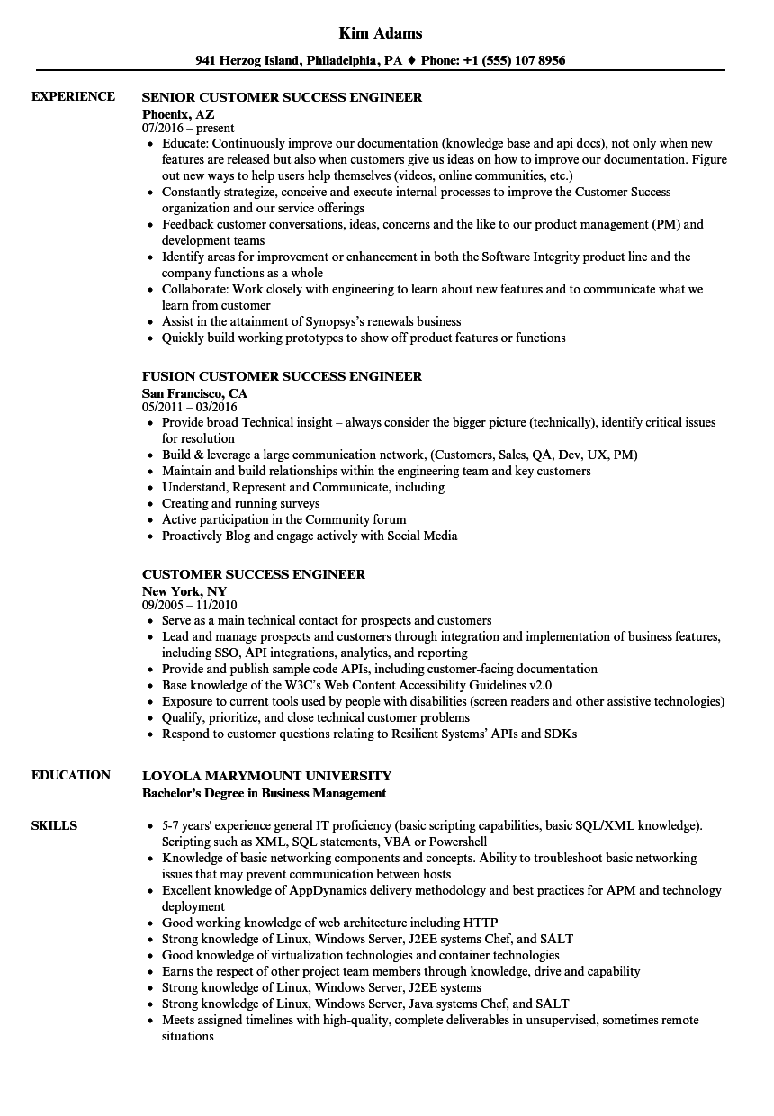customer success engineer resume samples