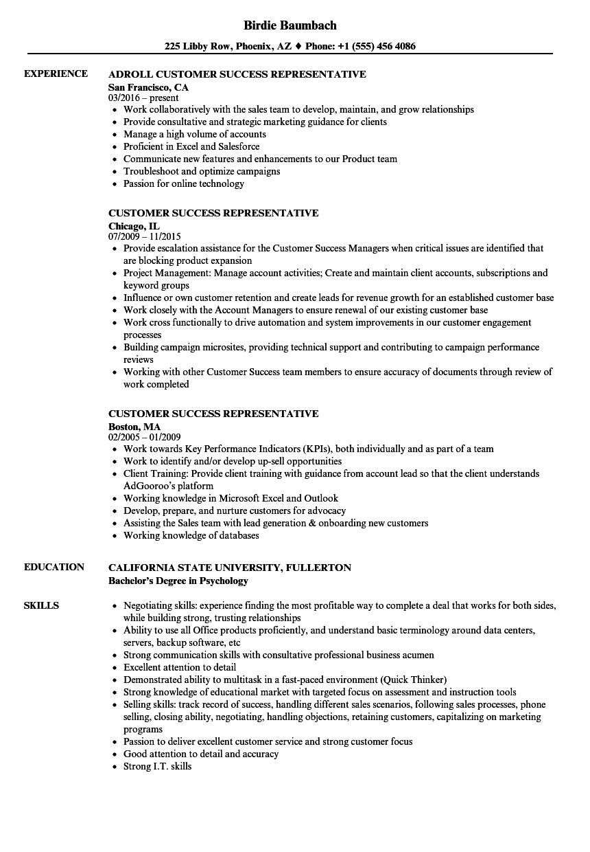 customer success representative resume samples