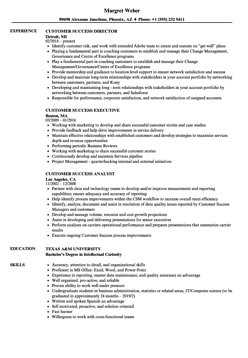 Customer Success Resume Samples Velvet Jobs