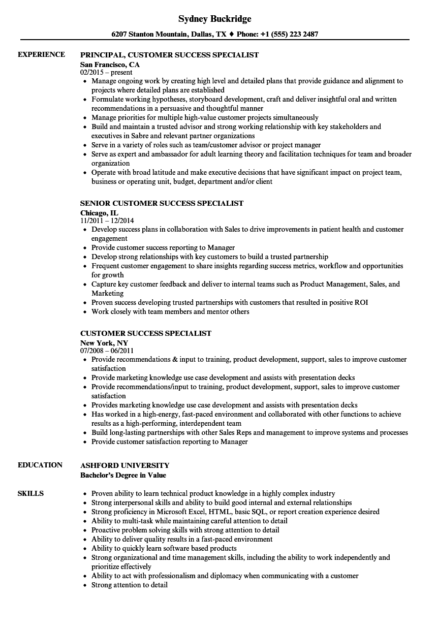 customer success specialist resume samples