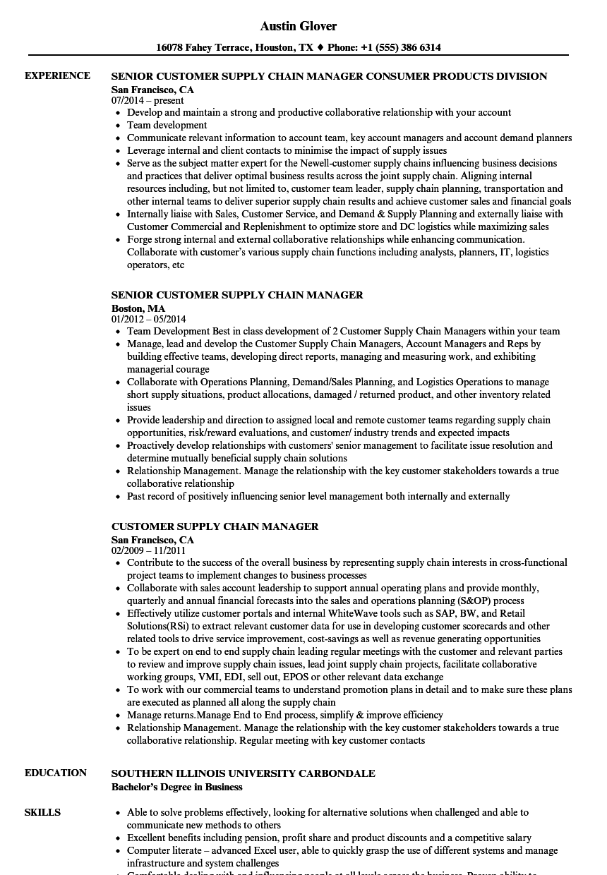 customer supply chain manager resume samples velvet jobs