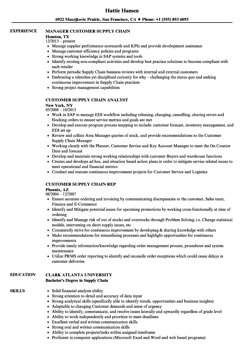 download customer supply chain resume sample as image file - Supply Chain Analyst Resume