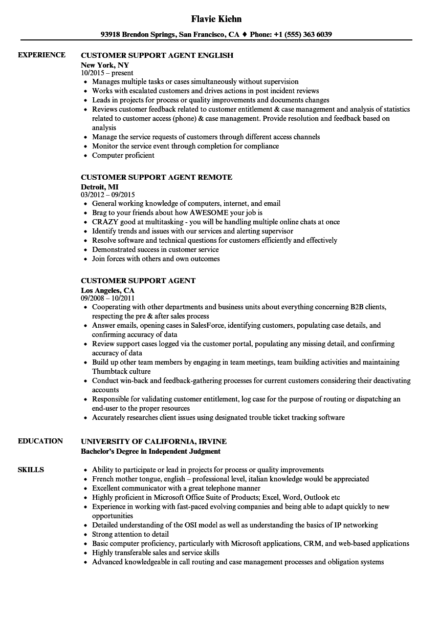 Customer Support Agent Resume Samples Velvet Jobs