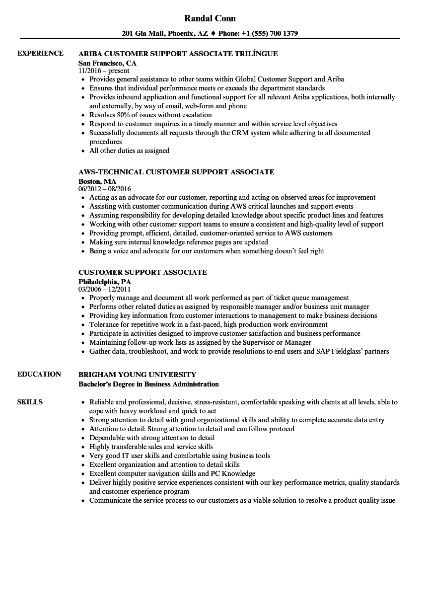 Customer Support Associate Resume Samples Velvet Jobs