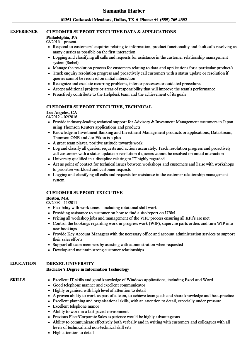customer support executive resume samples