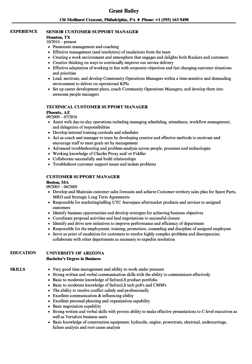 customer support manager resume samples