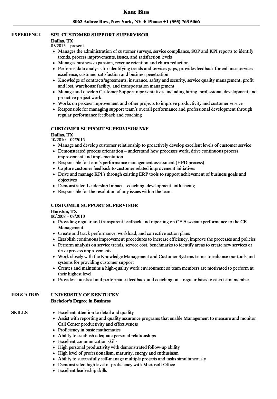 Customer Support Supervisor Resume Samples | Velvet Jobs