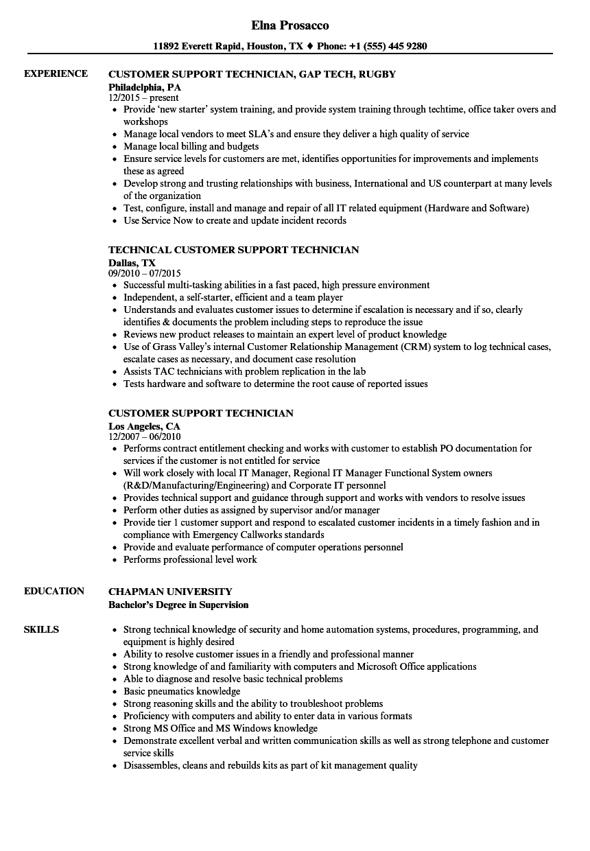 download customer support technician resume sample as image file