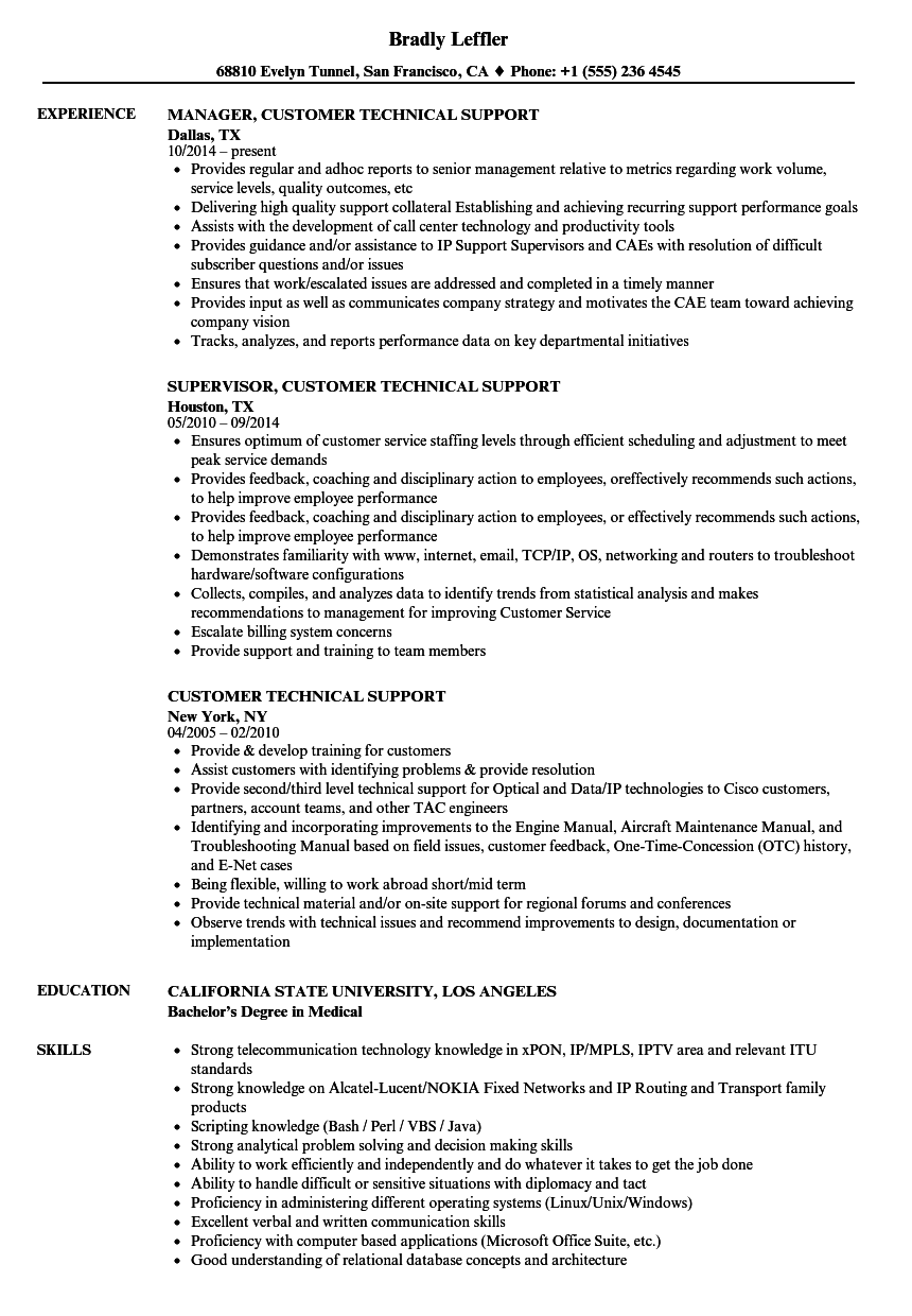 Download Customer Technical Support Resume Sample As Image File  Technical Support Resume