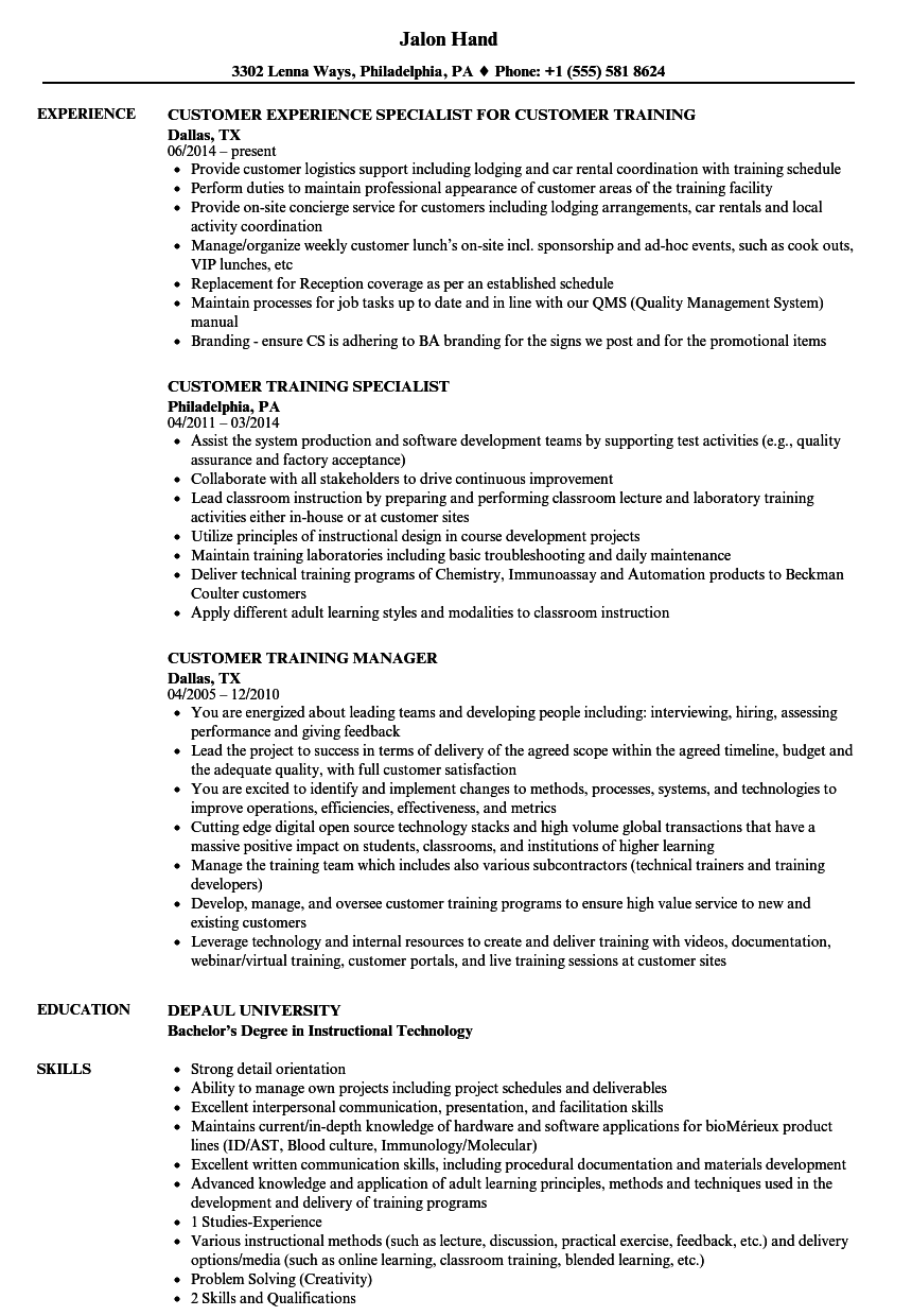 Download Customer Training Resume Sample As Image File  Training Specialist Resume