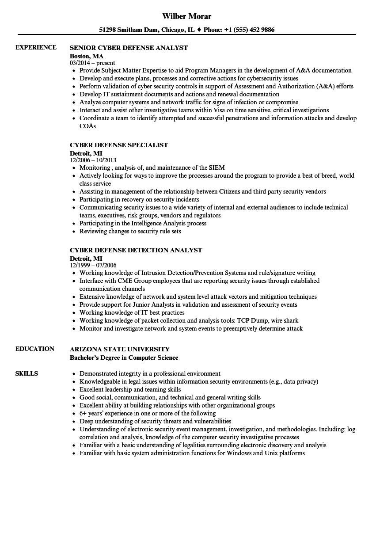 cyber defense resume samples