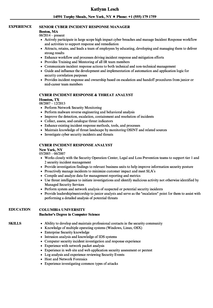 download cyber incident response resume sample as image file