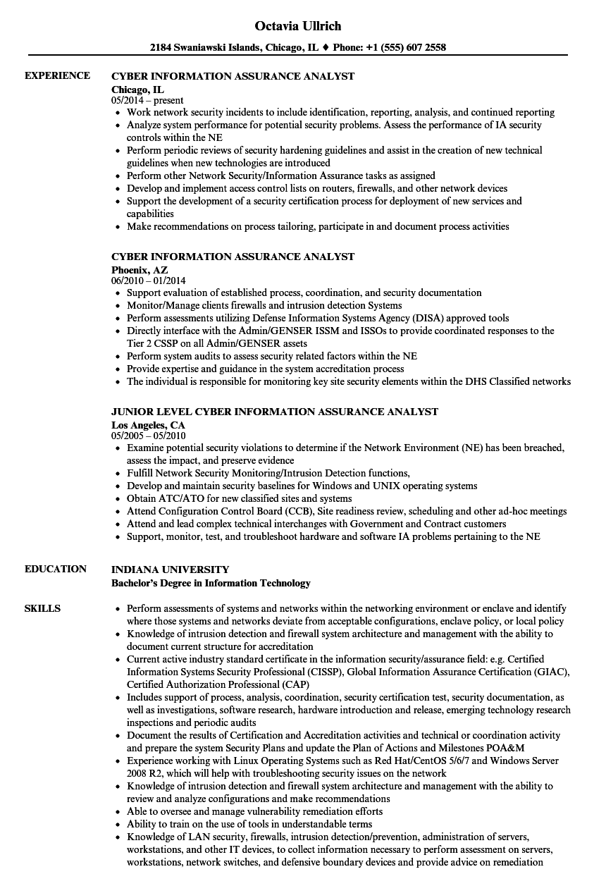 download cyber information assurance analyst resume sample as image file