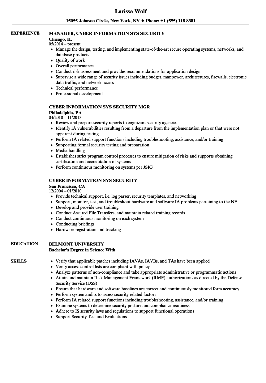 cyber information sys security resume samples