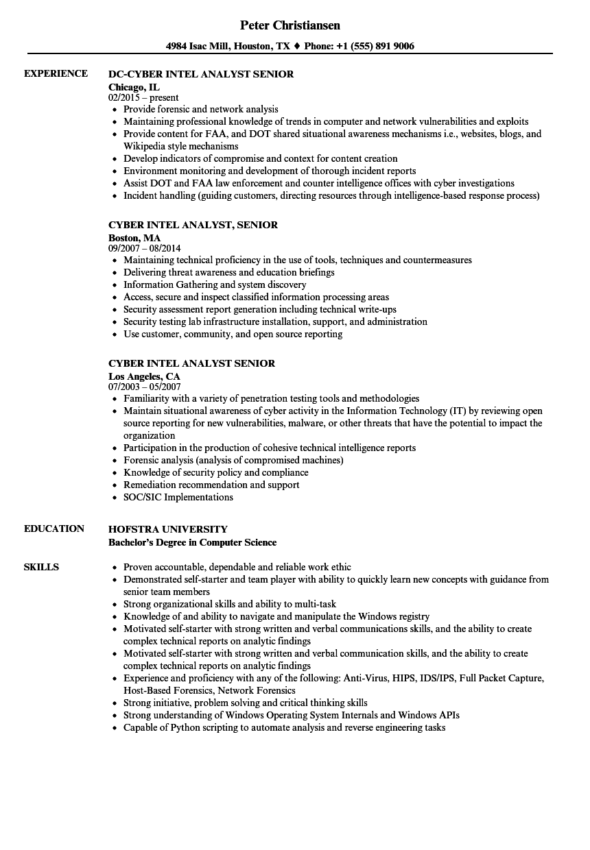 cyber intel analyst senior resume samples