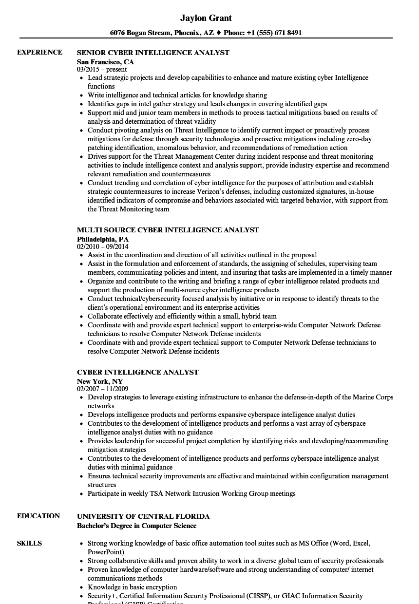 cyber intelligence analyst resume samples