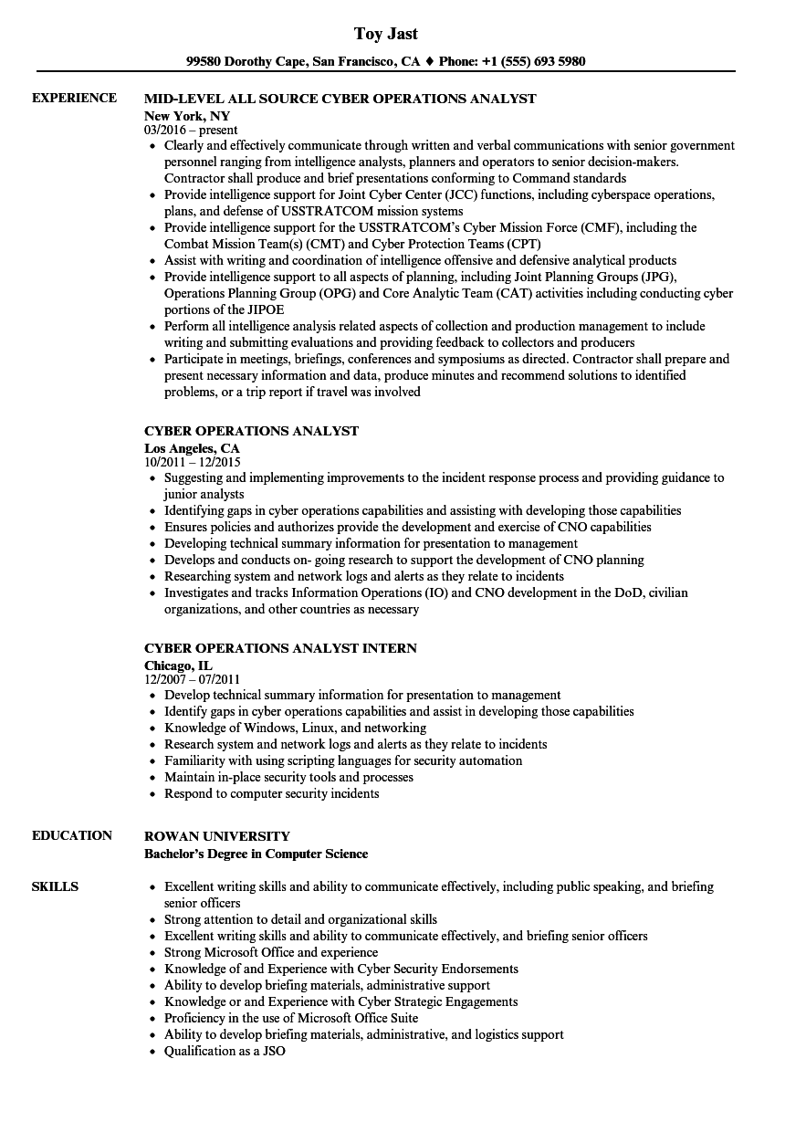 Cyber Operations Analyst Resume Samples | Velvet Jobs