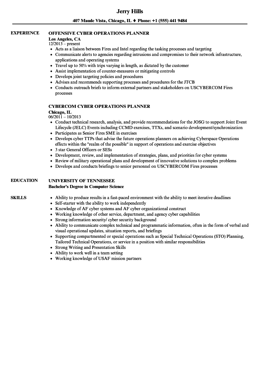 cyber operations planner resume samples