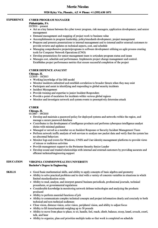 Cyber Resume Samples | Velvet Jobs