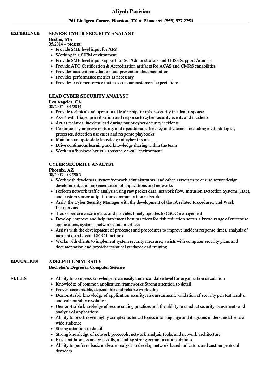 Cyber Security Analyst Resume Samples Velvet Jobs