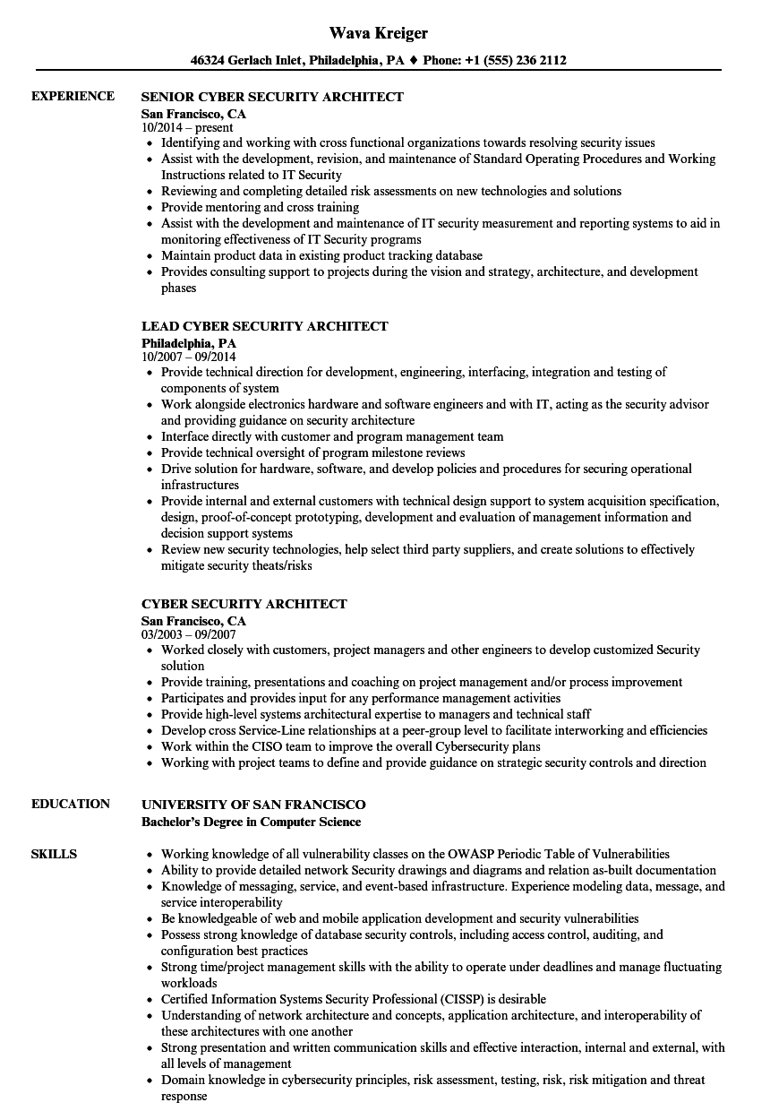 download cyber security architect resume sample as image file - Architect Resume Sample
