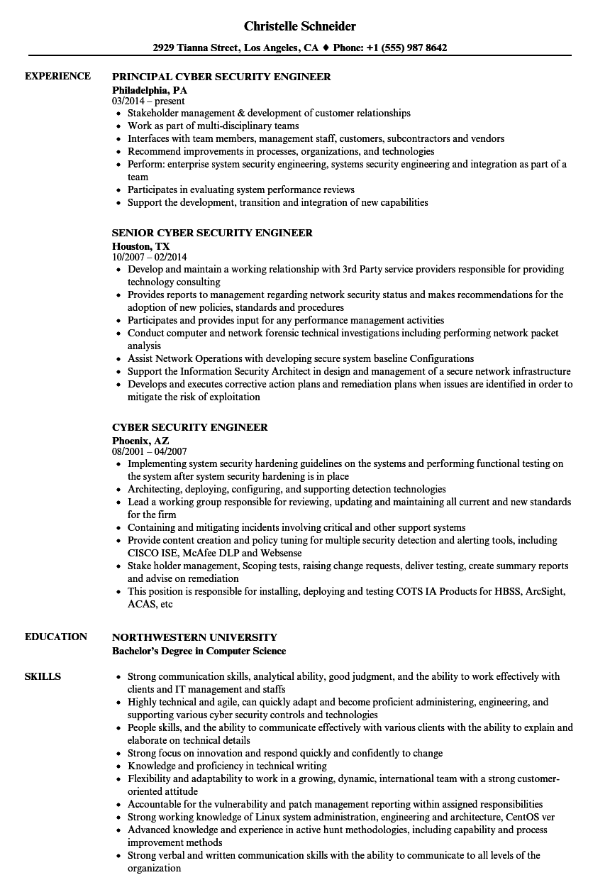 Cyber Security Engineer Resume Samples | Velvet Jobs