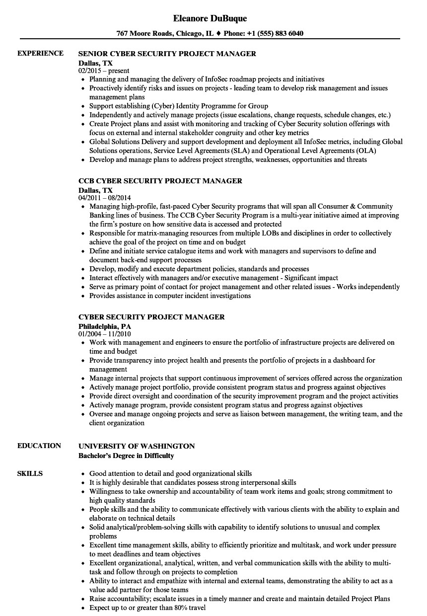 Cyber Security Project Manager Resume Samples Velvet Jobs