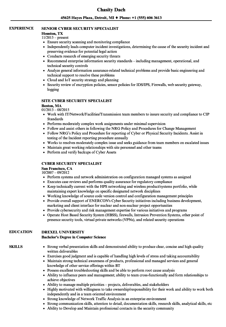Download Cyber Security Specialist Resume Sample As Image File