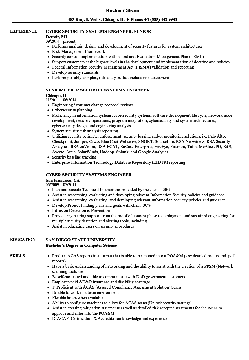 cyber security systems engineer resume samples