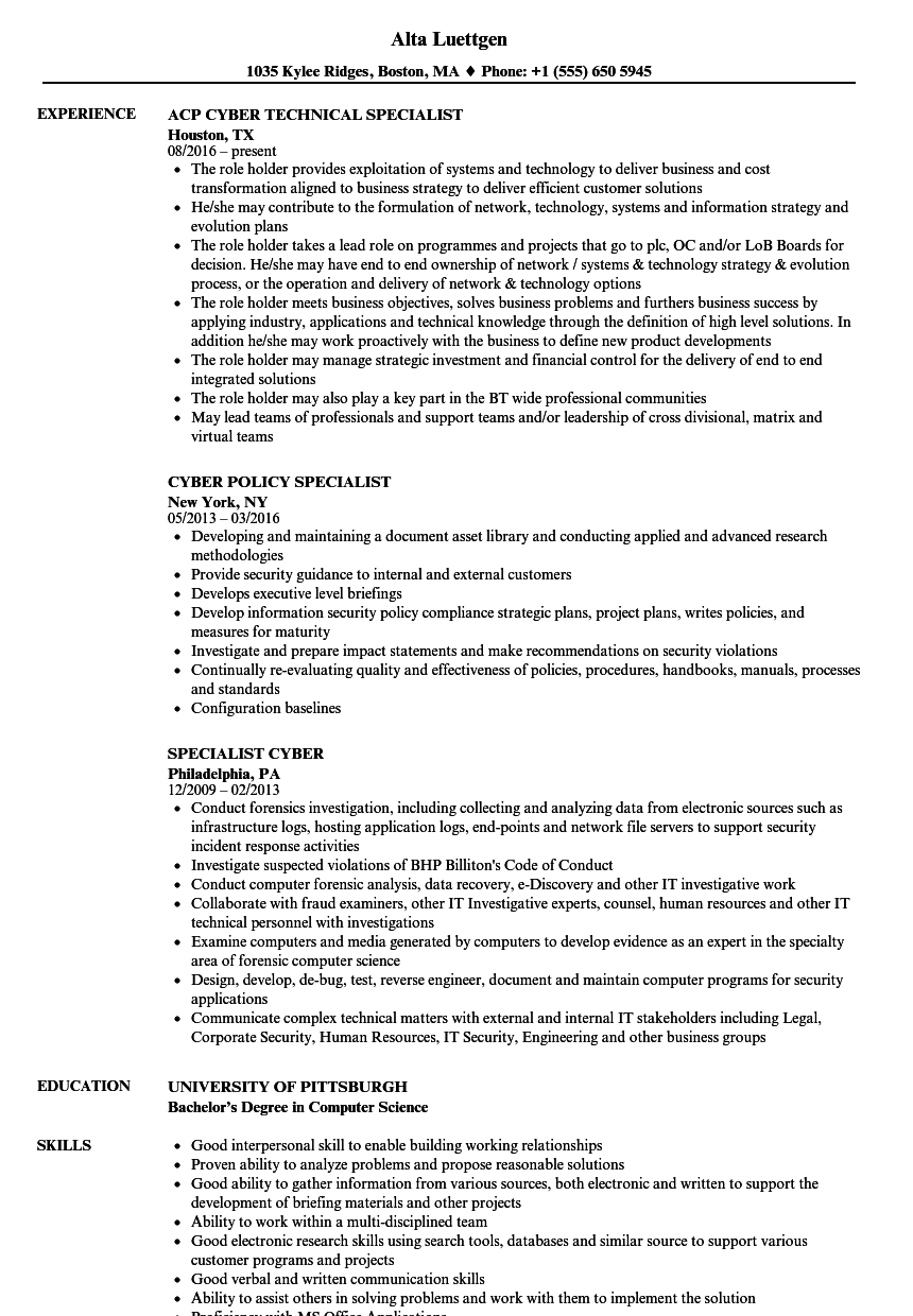 cyber specialist resume samples