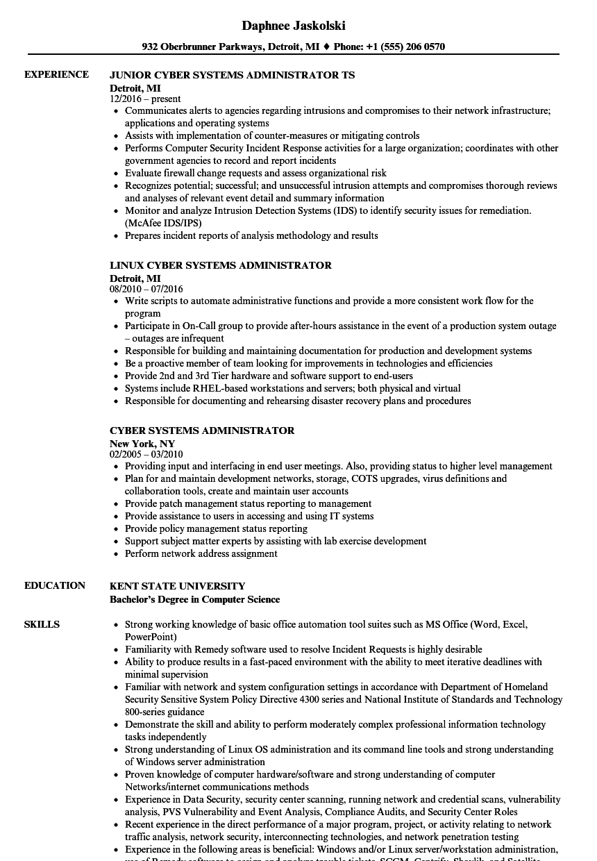 cyber systems administrator resume samples