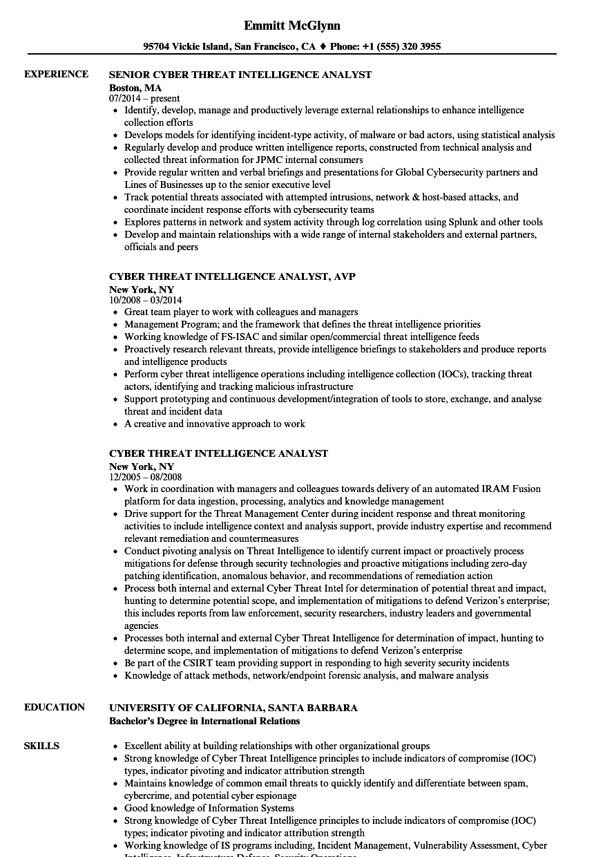 download cyber threat intelligence analyst resume sample as image file