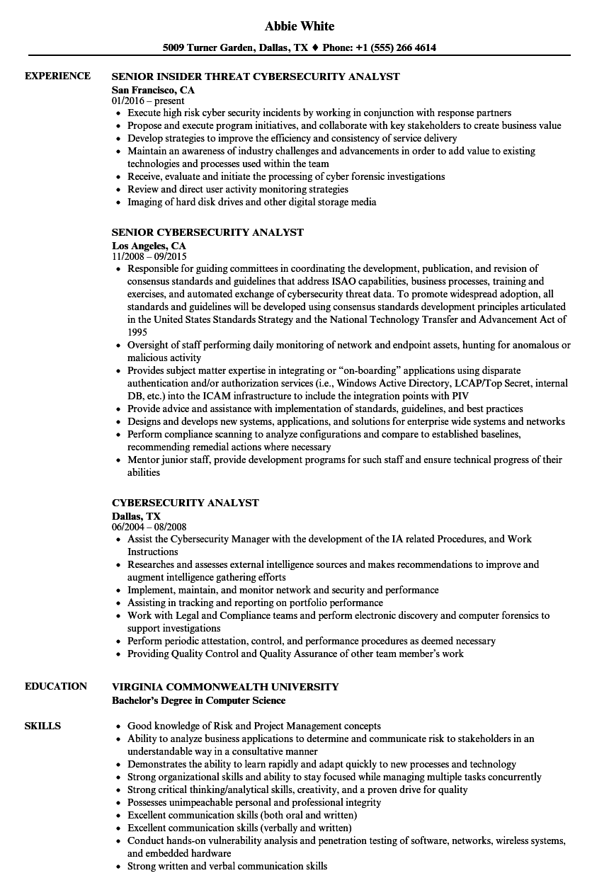 cybersecurity analyst resume samples velvet jobs