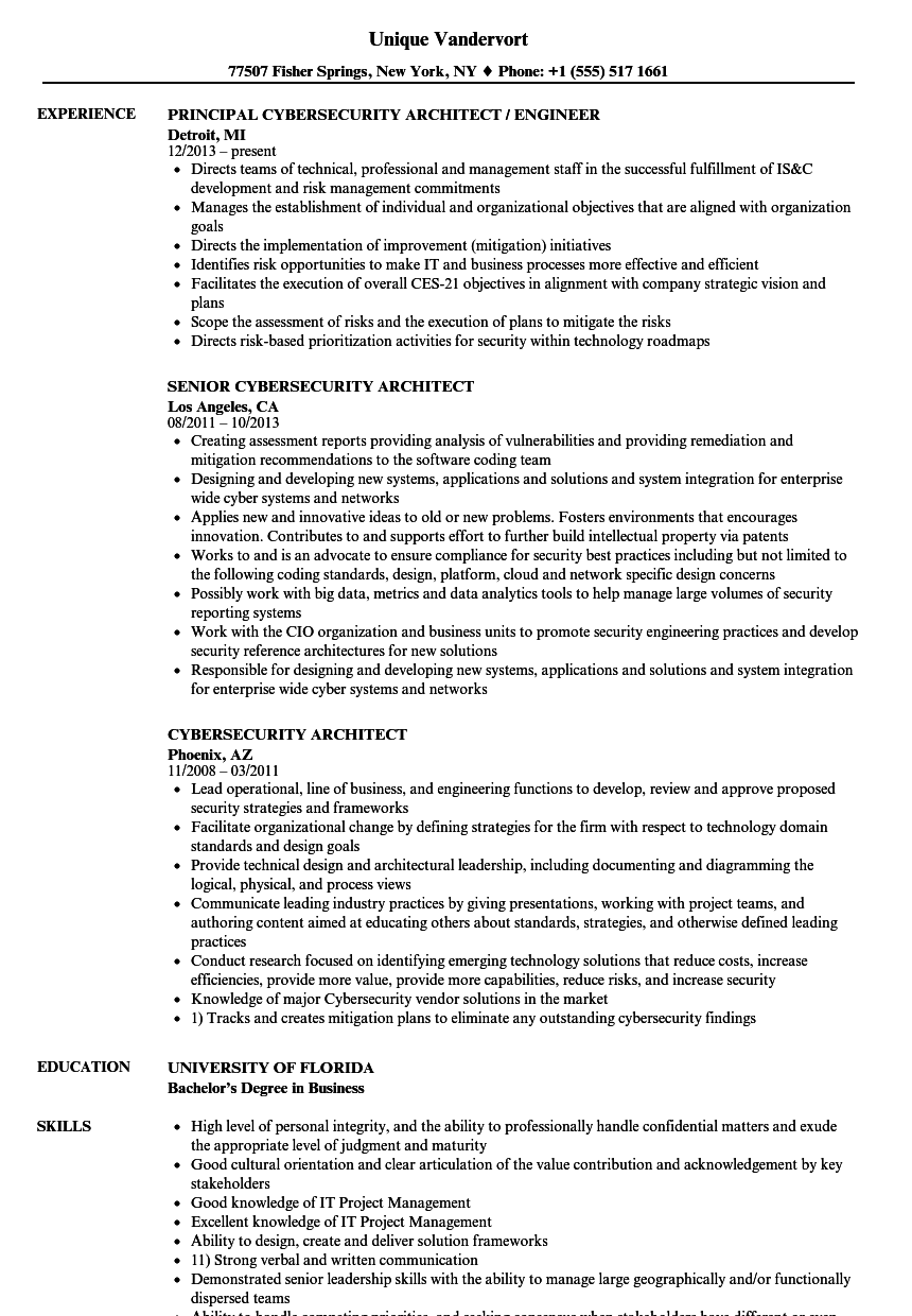 Download Cybersecurity Architect Resume Sample As Image File