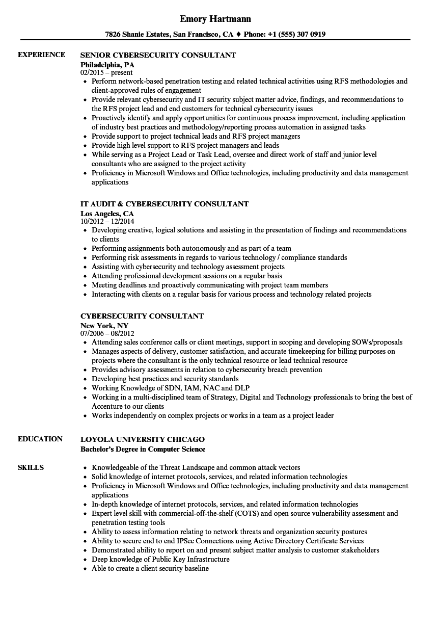 Cybersecurity Consultant Resume Samples