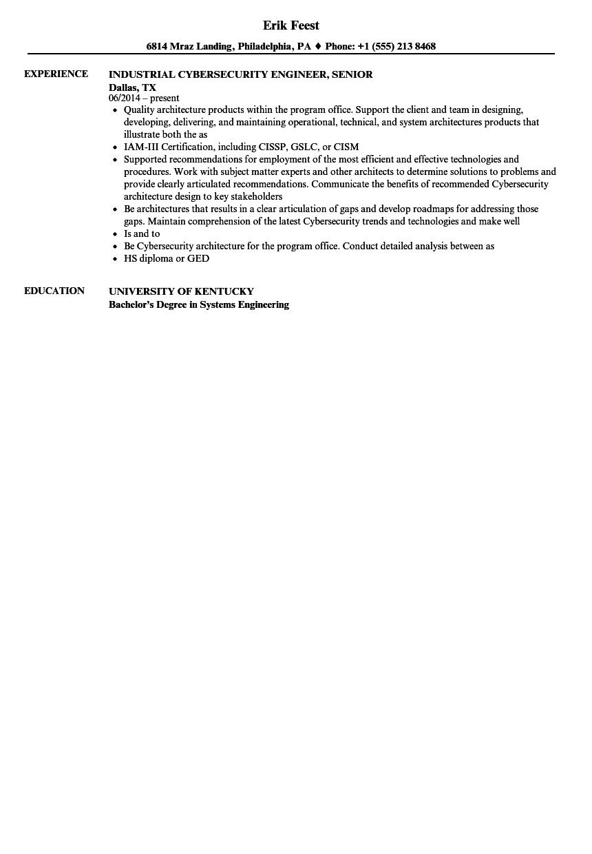 cybersecurity engineer  senior resume samples