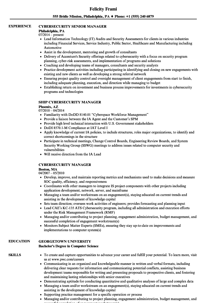 Cybersecurity Manager Resume Samples | Velvet Jobs