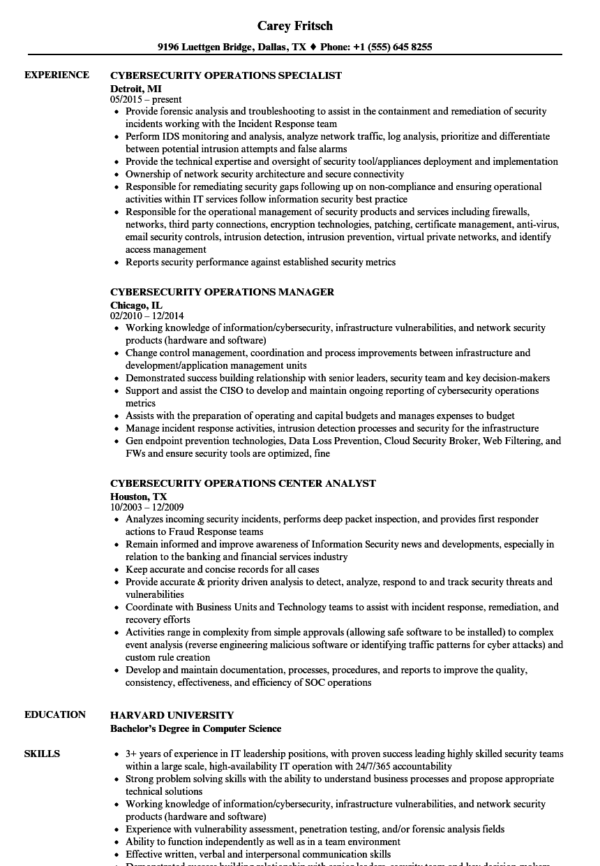 Download Cybersecurity Operations Resume Sample As Image File